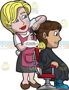 hairdresser clipart little girl brushing hair