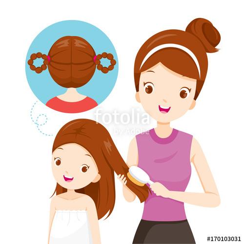 Hairdresser clipart little girl brushing hair. Mother daughter salon hairdressing