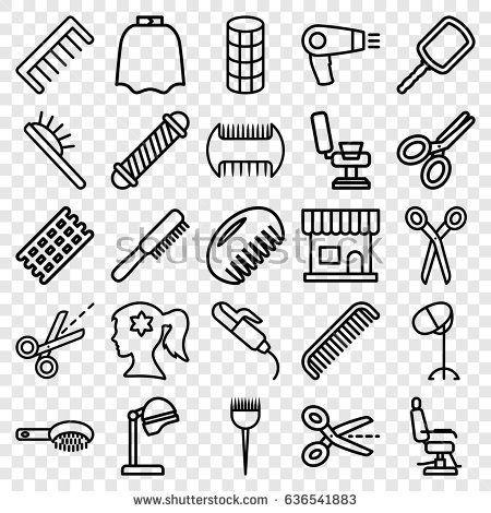 Icons set of outline. Hairdresser clipart salon mirror