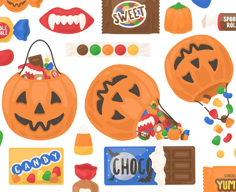 Halloween clipart chocolate. Candy pumpkin trick or