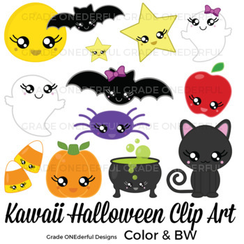 Halloween includes bw cu. Witch clipart kawaii