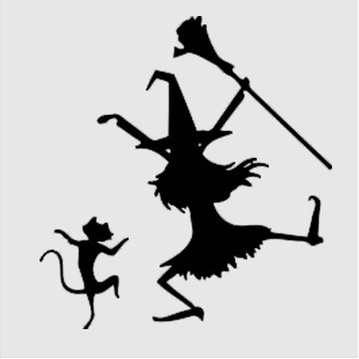 Cat and witch decal. Halloween clipart dancing