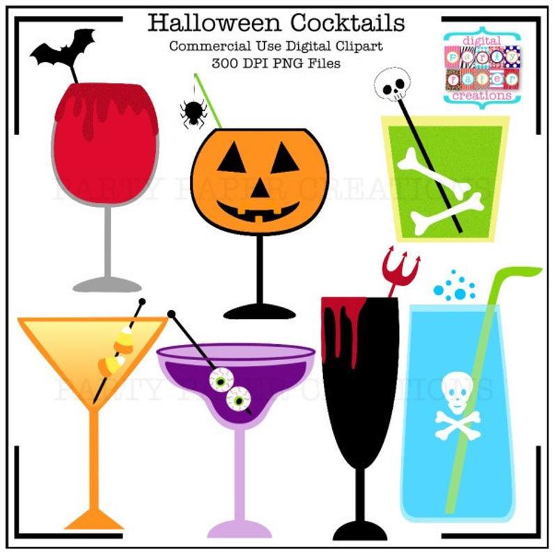 Cocktails digital graphic art. Halloween clipart drink