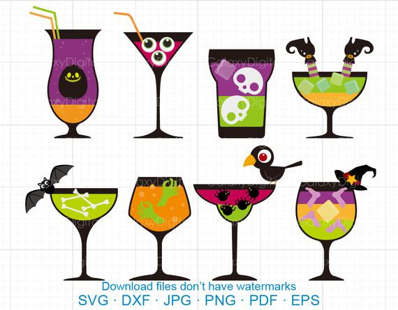 Halloween clipart drink. Cocktail svg wine dxf