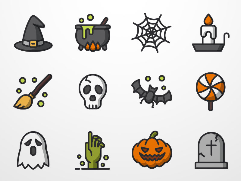 Set sketch freebie download. Halloween clipart icon