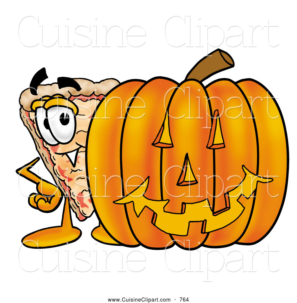Cuisine of a cheerful. Halloween clipart pizza