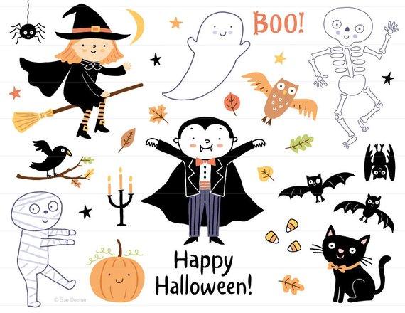 Clip art cute kids. Halloween clipart printable
