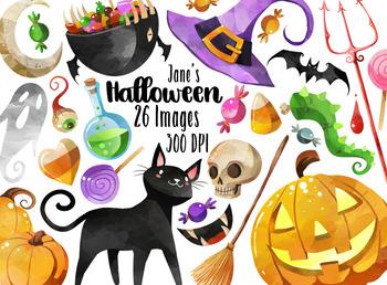 . Halloween clipart watercolor