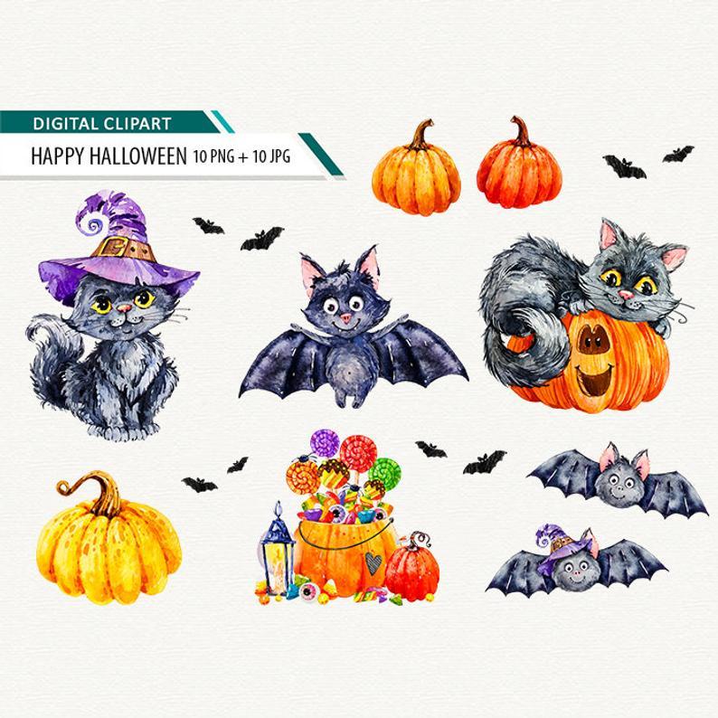 Halloween clipart watercolor. Spooky clip arts trick