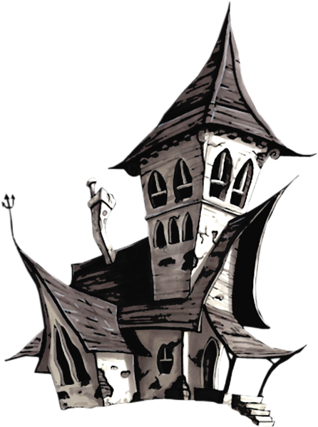 White clipart window art. Halloween house png