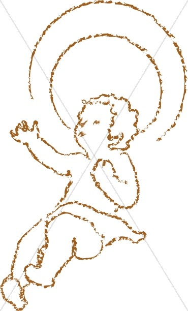 Chalk drawn jesus with. Halo clipart baby