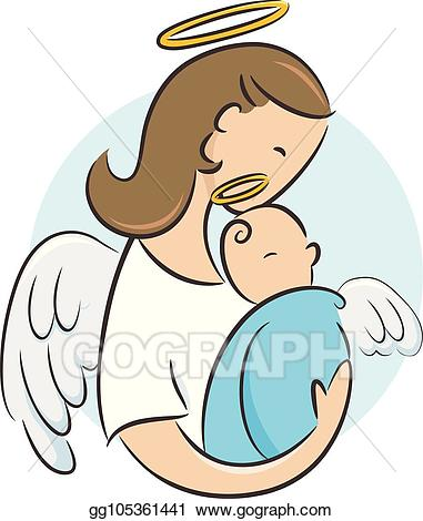 Vector newborn guardian angel. Halo clipart baby