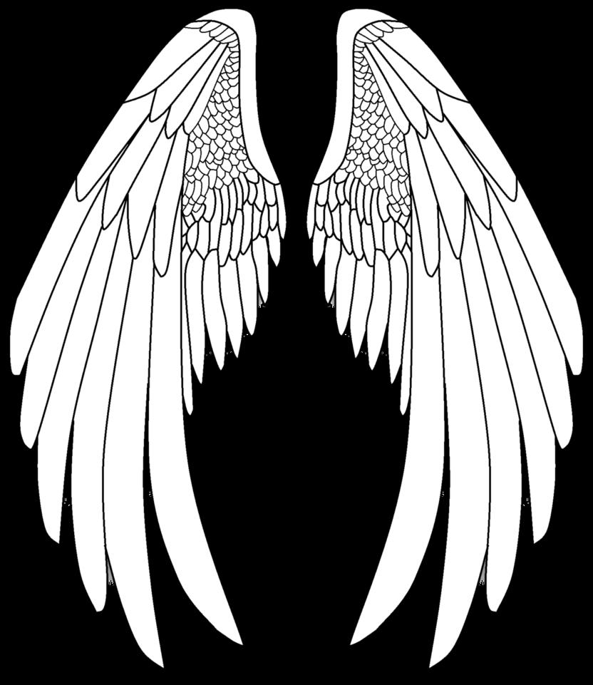 Easy angel wings drawing. Heaven clipart wing