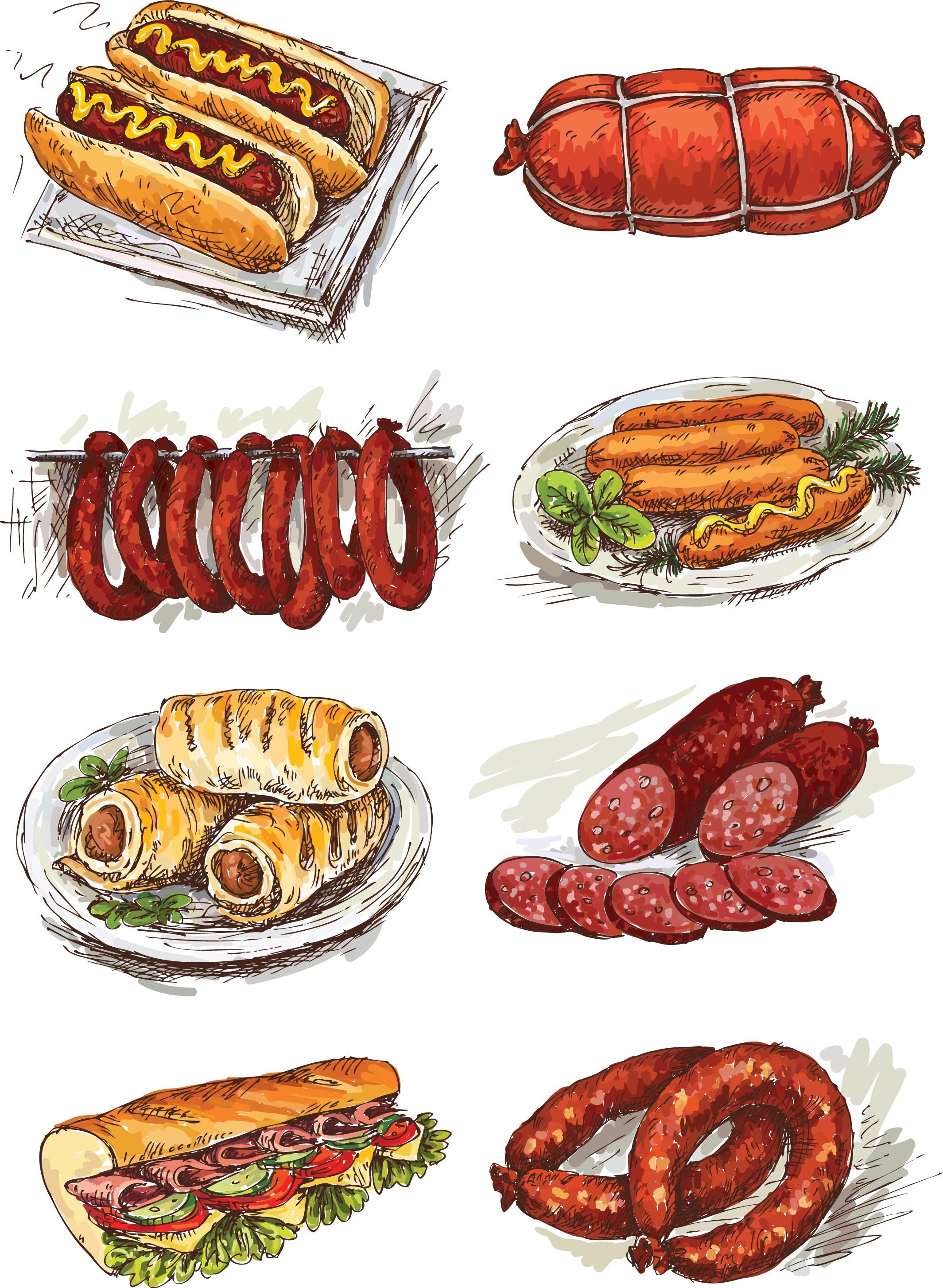 Sausage roll illustration hand. Ham clipart canadian bacon