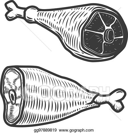 Vector stock isolated on. Ham clipart fish meat