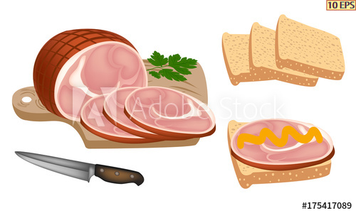 Cut into appetizing slices. Ham clipart smoked meat