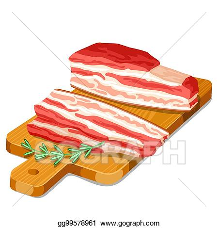 Vector illustration bacon slices. Ham clipart thick sliced