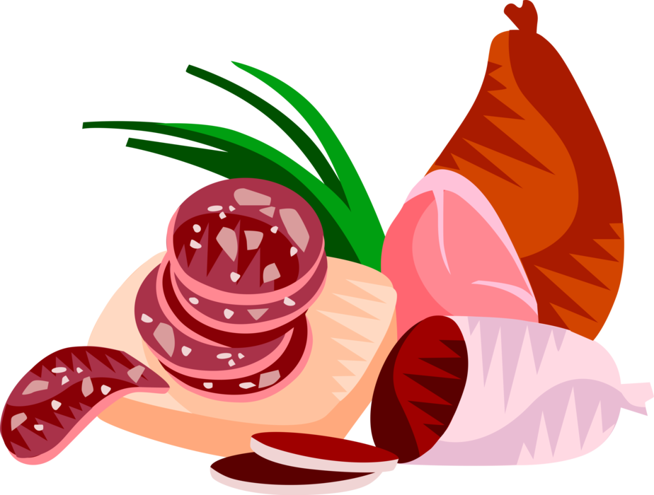 Ham clipart vector. Salami cured sausage image