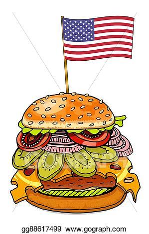 Stock illustration with cheese. Hamburger clipart american burger