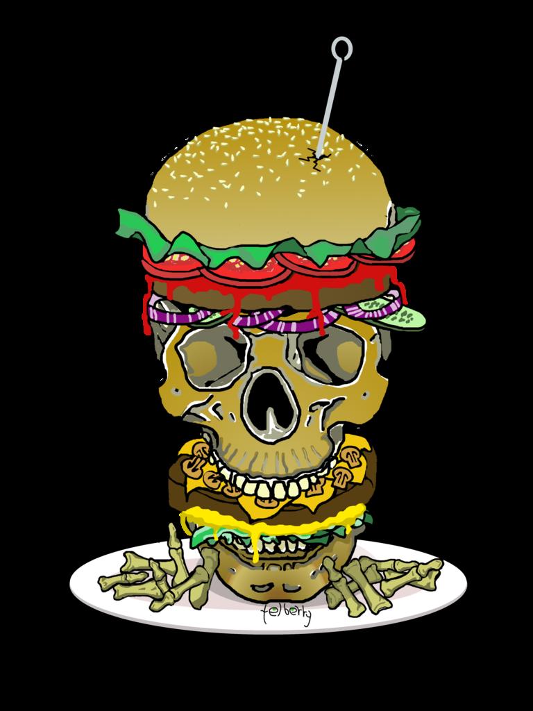 Skull burger and finger. Hamburger clipart burge