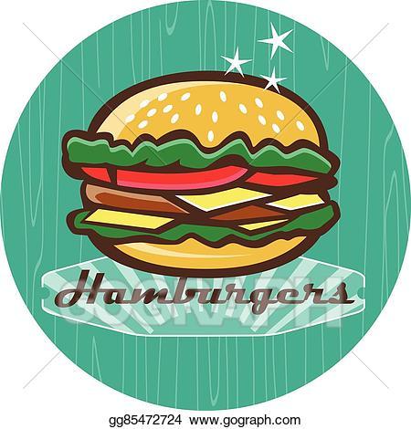 Hamburger clipart diner food. Clip art vector retro