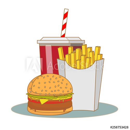 Hamburger clipart takeaway food. French fries and soda