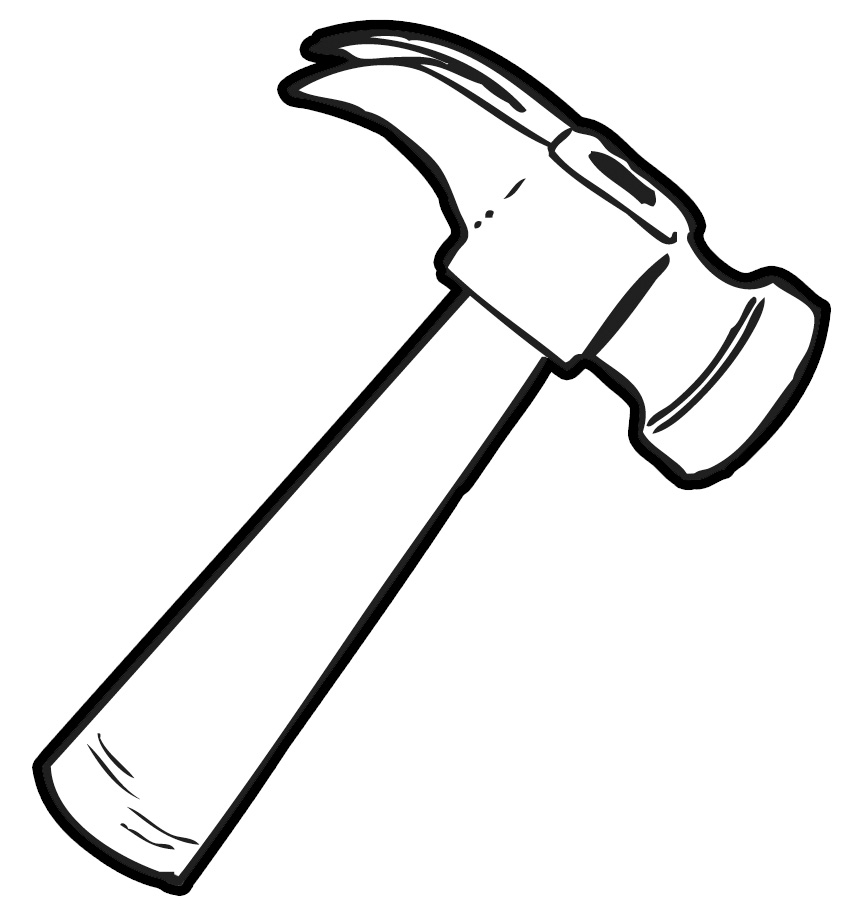 Clipart hammer. Fresh black and white