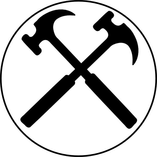 Hammer clipart crossed. Hammers bw x clip