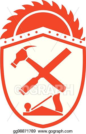 Vector illustration and rasp. Hammer clipart crossed