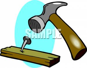 A bent nail in. Hammer clipart hammer wood