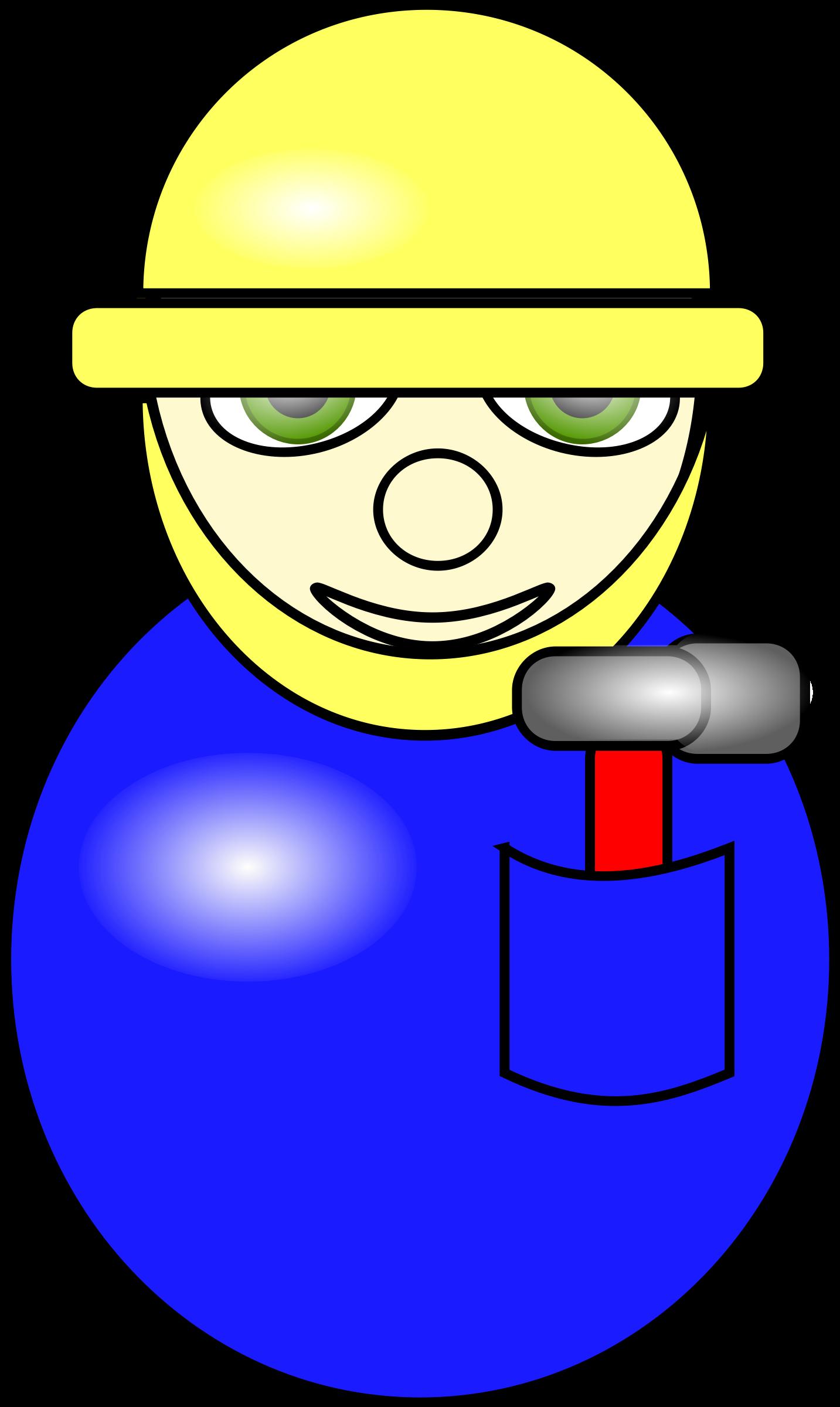 Village people construction worker. Hammer clipart hard hat