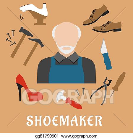 Hammer clipart shoemaker tool. Eps illustration with shoes