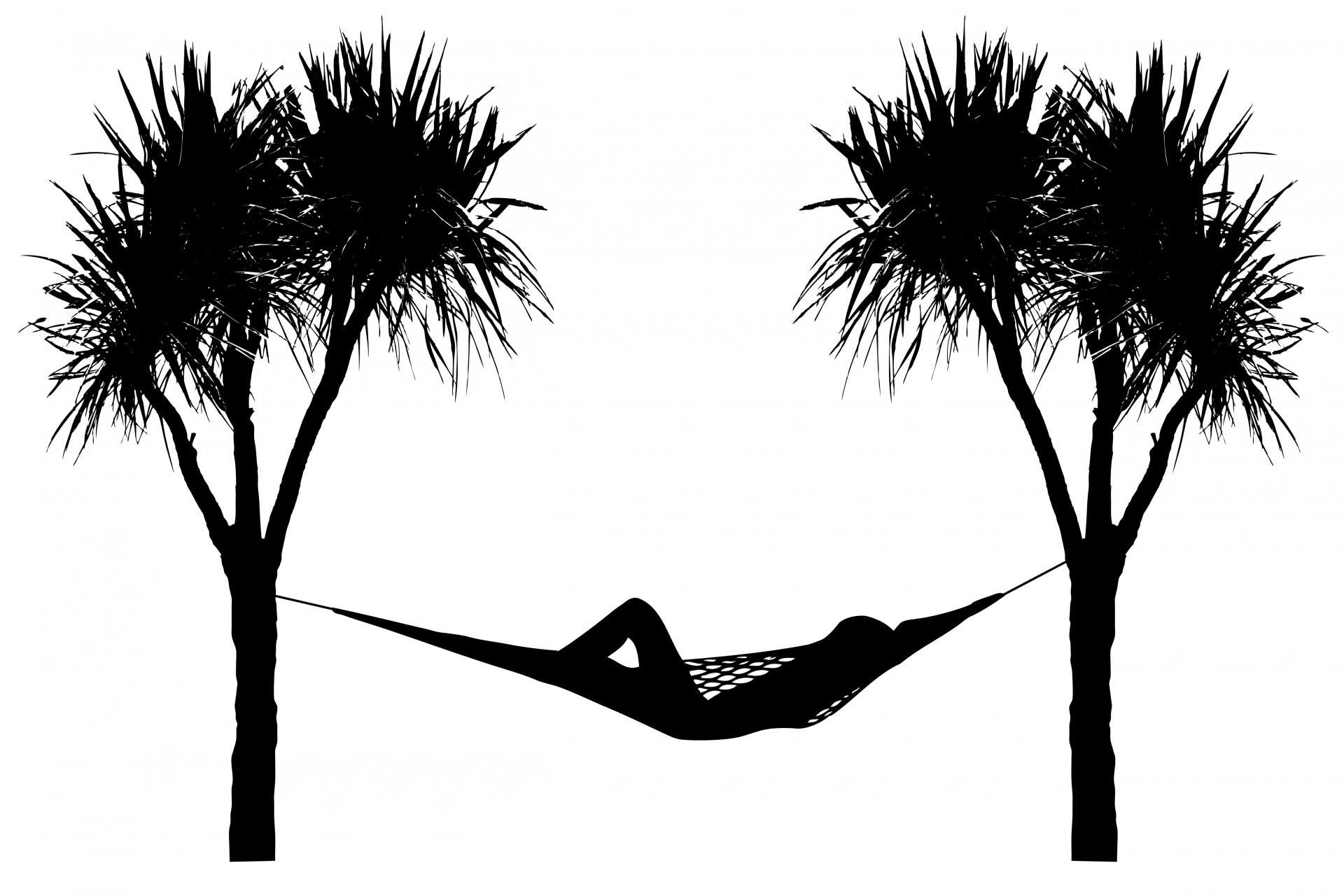 Between palm trees free. Hammock clipart