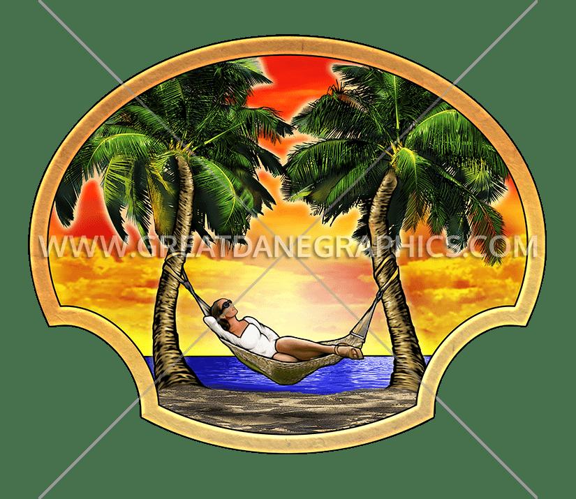 Vacation production ready artwork. Palm clipart hammock
