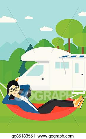 Hammock clipart lie in hammock. Eps illustration woman lying