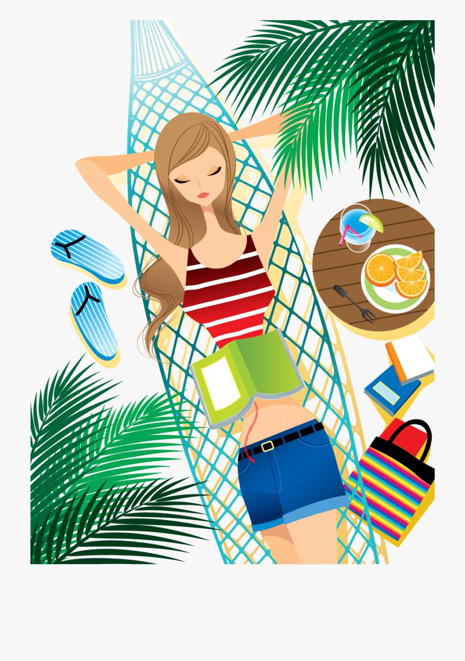 Hammock clipart summer. Relaxation illustration creative cool