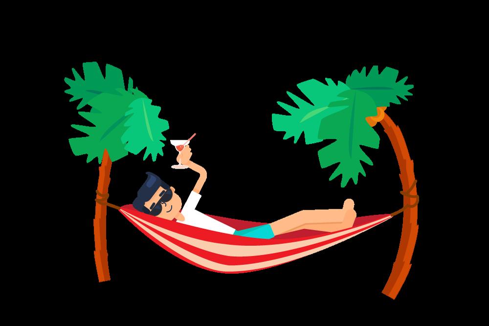 Best graphic illustration design. Palm clipart hammock