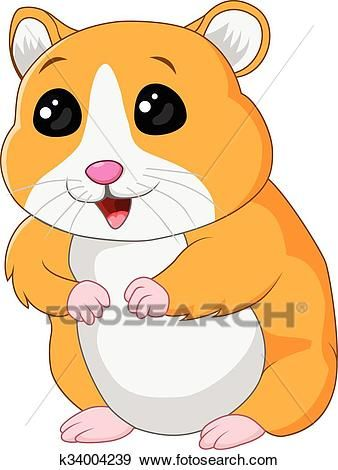 Cute posing isolated clip. Hamster clipart adorable