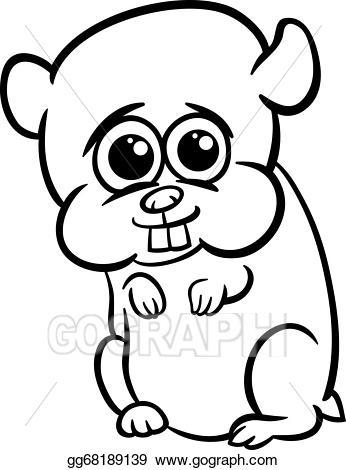 Vector illustration cartoon coloring. Hamster clipart baby hamster