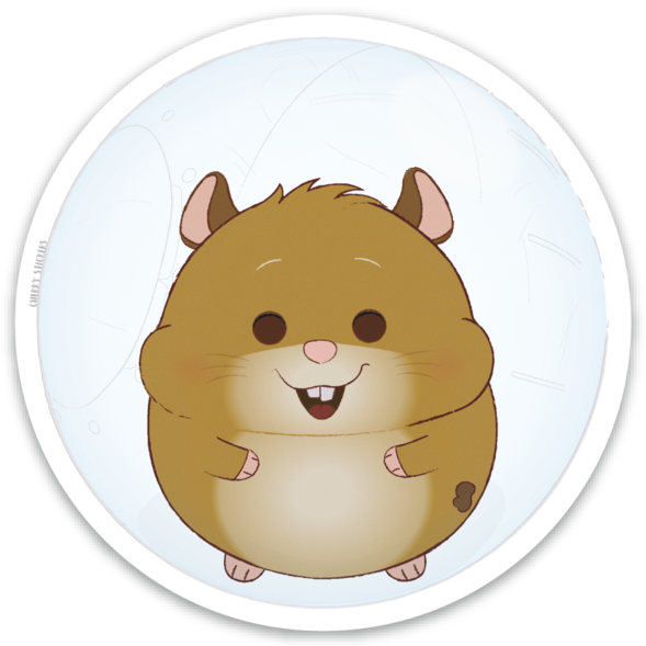 Cherry stickers . Hamster clipart brown