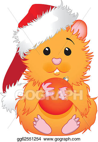 Vector illustration stock clip. Hamster clipart christmas