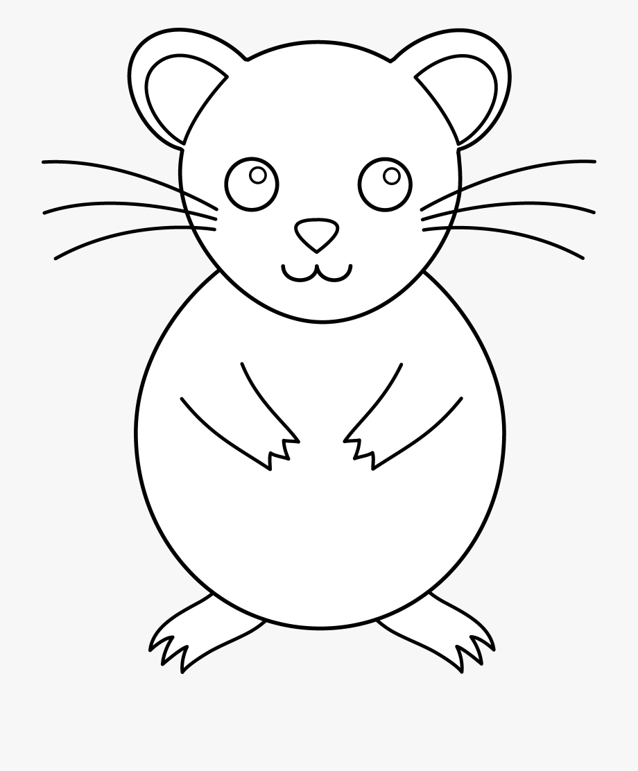 Outline pencil and in. Hamster clipart colour