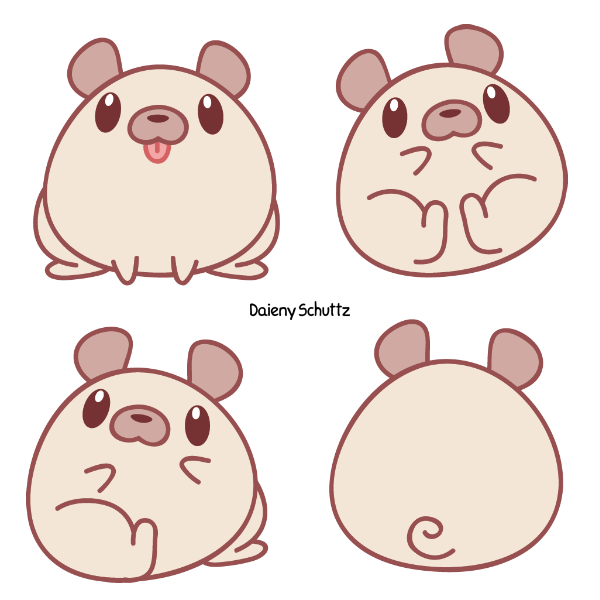 Pugin by daieny on. Hamster clipart kawaii