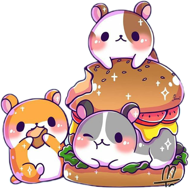 Cute hamburger kawaiifood hamsters. Hamster clipart kawaii