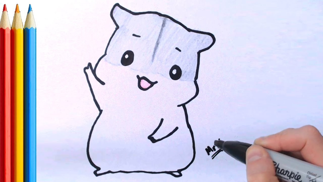 Hamster clipart simple. How to draw cute