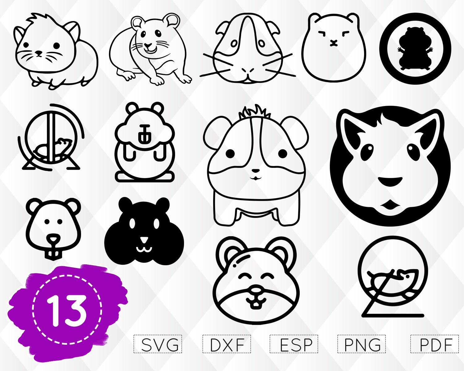 Monogram mouse small pet. Hamster clipart svg