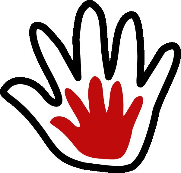 Child black white amoola. Handprint clipart cross