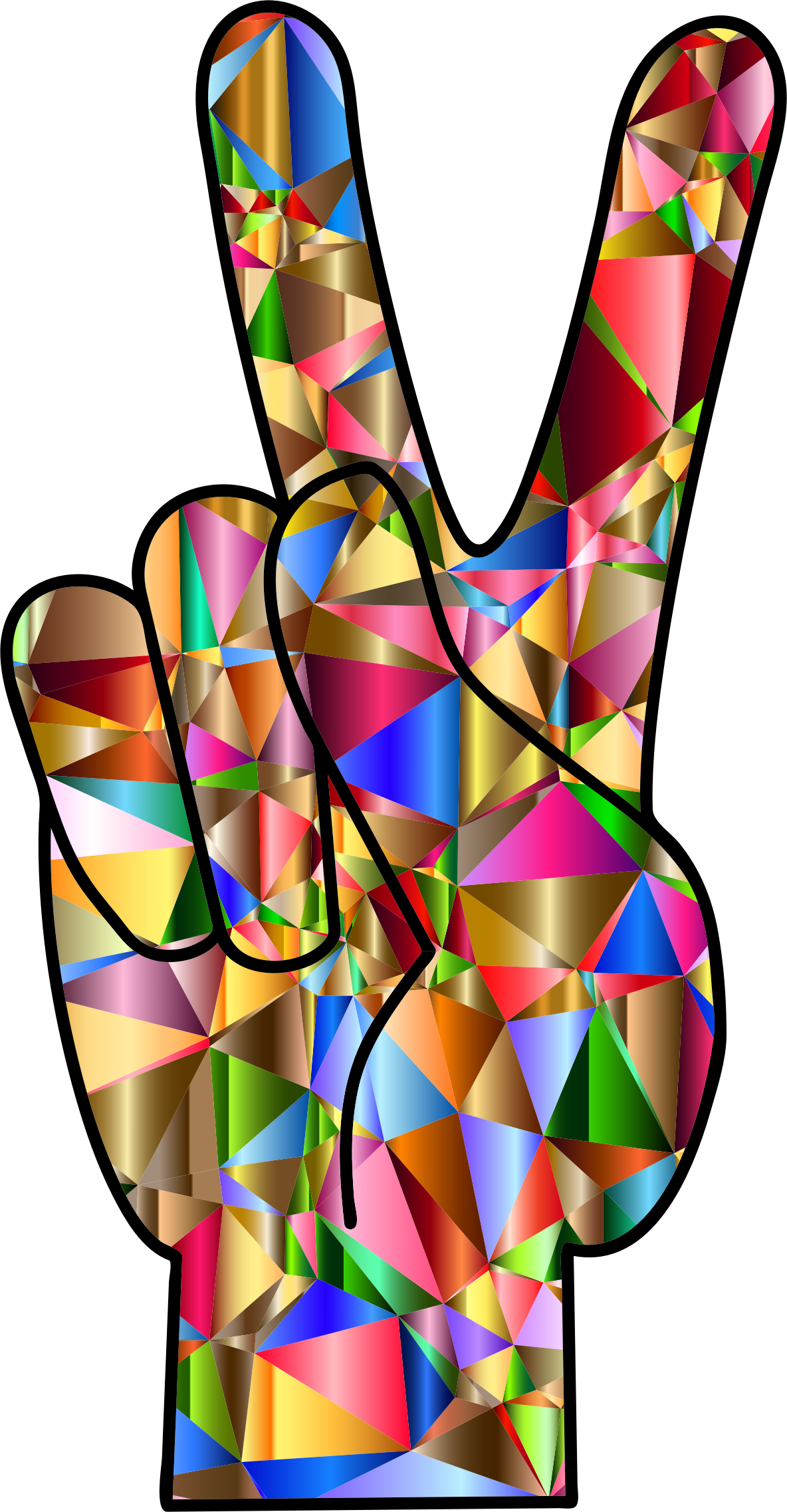 Hand clipart peace. Chromatic low poly sign