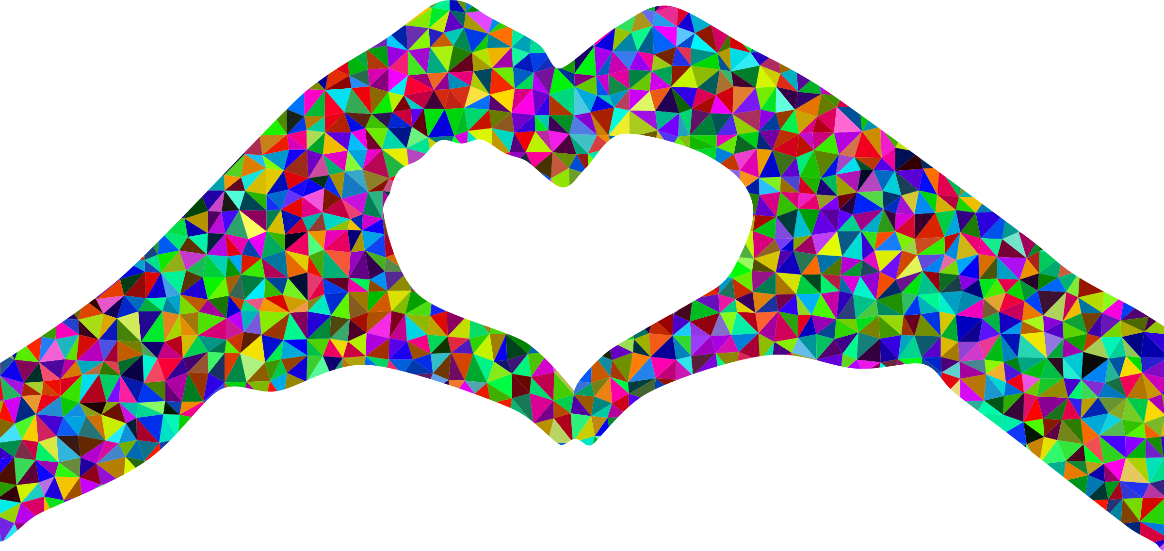 Low poly prismatic heart. Hearts clipart silhouette