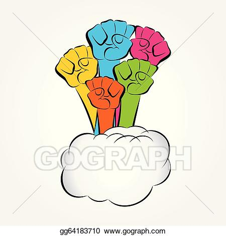 Vector art colorful show. Hand clipart unity